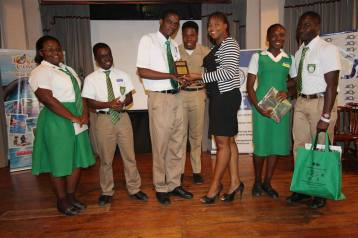 Shanoy Coombs makes presentation to Earth Day Competition winners