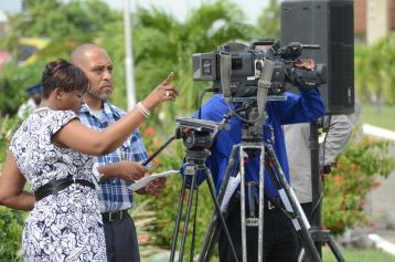 Directing Videography Angles at Veteran's Day Ceremony Shanoy Coombs