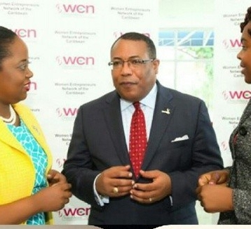 Meeting then President of the Women's Entrepreneur Network and Minister Anthony Hylton Shanoy Coombs