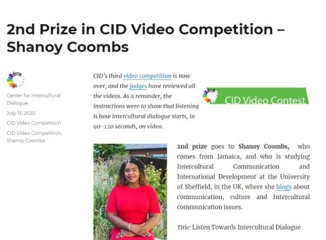 Shanoy Coombs Winner 2nd place Intercultural Competition